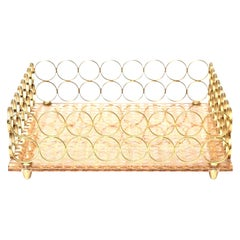 Brass and Caned Square Tray Barware Vintage, Italian