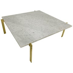 Brass and Carrara Marble-Top Coffee Table Style of Poul Kjaerholm