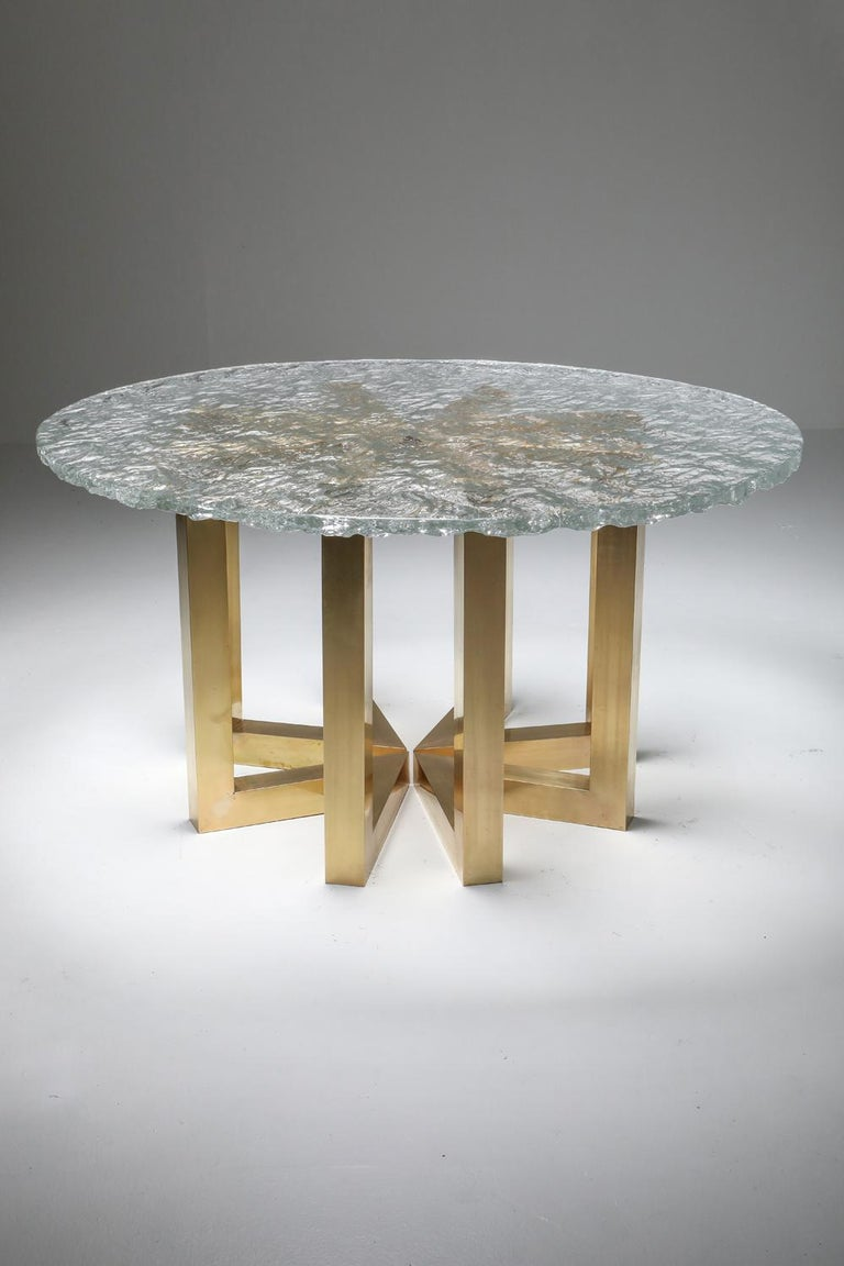 Brass and Cast Glass Round Dining Table by Ettore Gino Poli for Poliarte For Sale 6