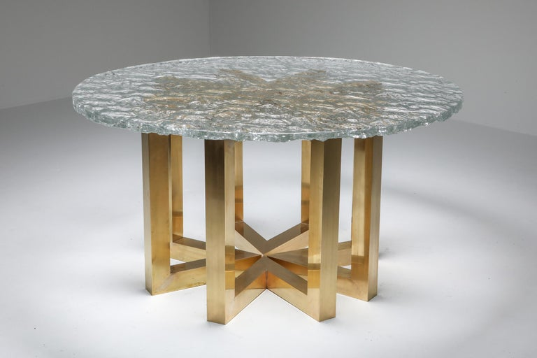 Poliarte table, brass segmented base and hand casted glass top dining table, Italy, 1970s