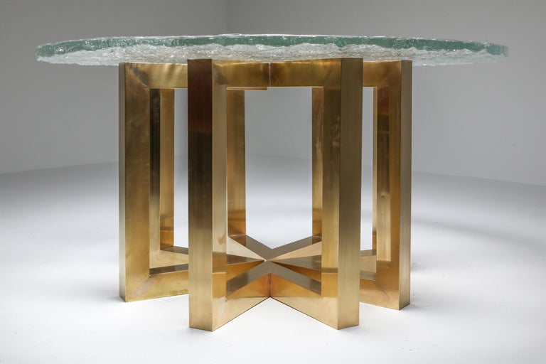 Hollywood Regency Brass and Cast Glass Round Dining Table by Ettore Gino Poli for Poliarte For Sale
