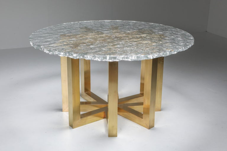 Italian Brass and Cast Glass Round Dining Table by Ettore Gino Poli for Poliarte For Sale