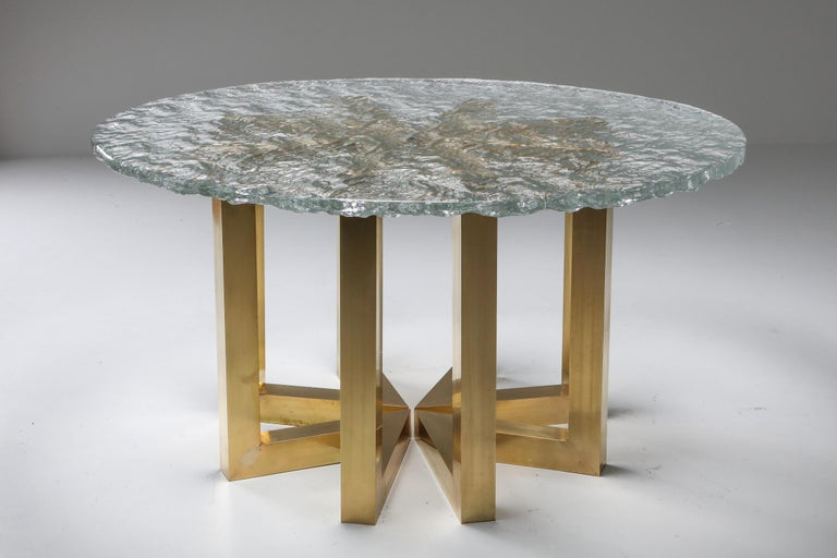 Brass and Cast Glass Round Dining Table by Ettore Gino Poli for Poliarte In Excellent Condition For Sale In Antwerp, BE