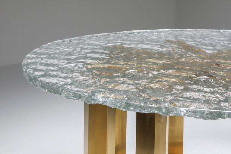 Late 20th Century Brass and Cast Glass Round Dining Table by Ettore Gino Poli for Poliarte For Sale