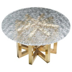 Brass and Cast Glass Round Dining Table by Ettore Gino Poli for Poliarte