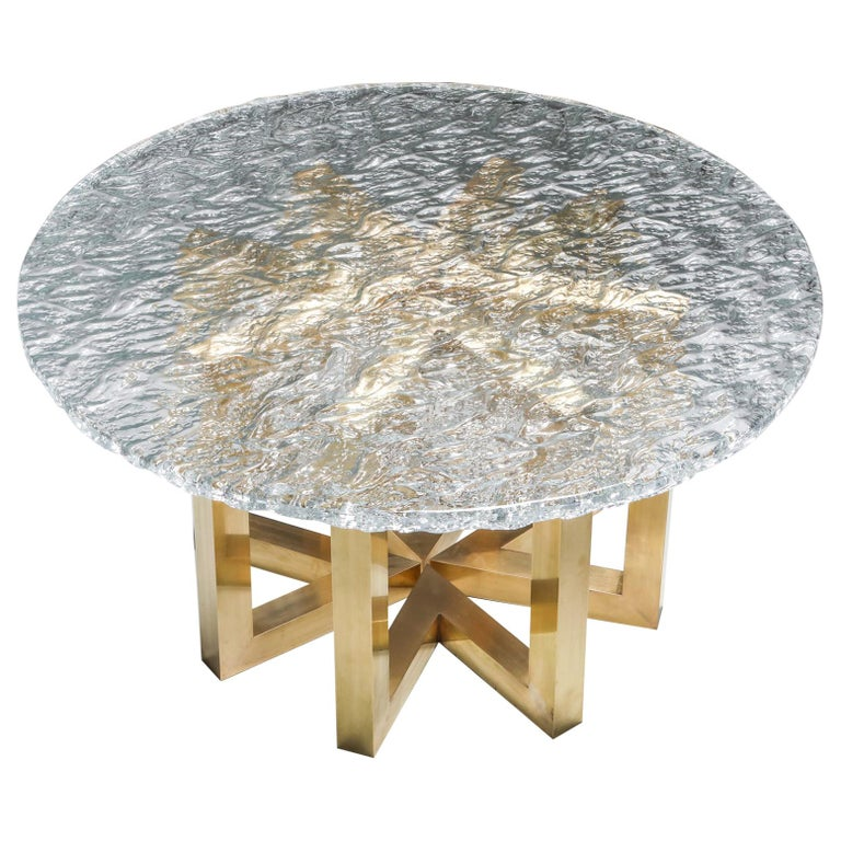Brass and Cast Glass Round Dining Table by Ettore Gino Poli for Poliarte For Sale