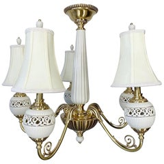 Brass and Ceramic Five-Light Chandelier by Lenox