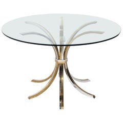 Brass and Chrome Center or Dining Table Attributed to Willy Rizzo