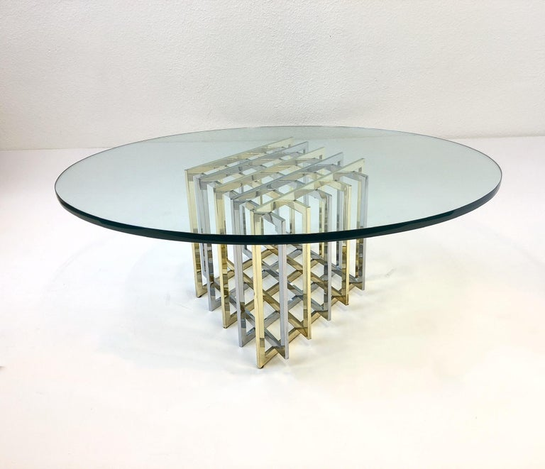 French Brass and Chrome Cocktail Table by Pierre Cardin For Sale