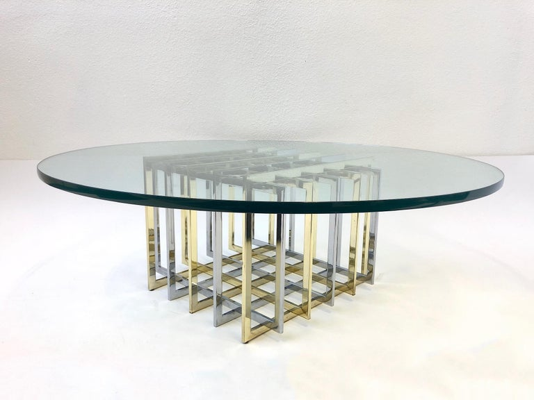 Polished Brass and Chrome Cocktail Table by Pierre Cardin For Sale
