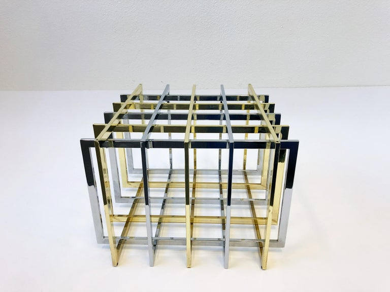 Brass and Chrome Cocktail Table by Pierre Cardin In Excellent Condition For Sale In Palm Springs, CA