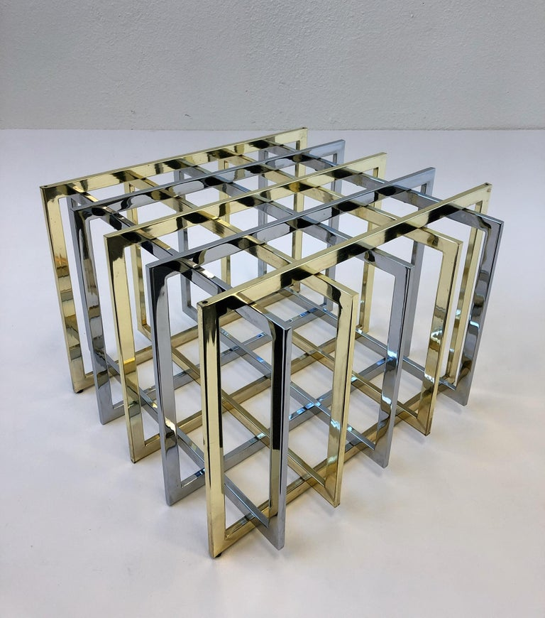 Late 20th Century Brass and Chrome Cocktail Table by Pierre Cardin For Sale