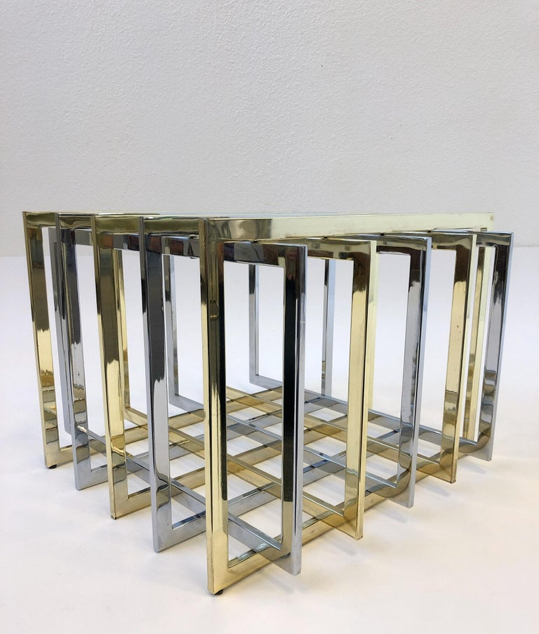 Brass and Chrome Cocktail Table by Pierre Cardin For Sale 2