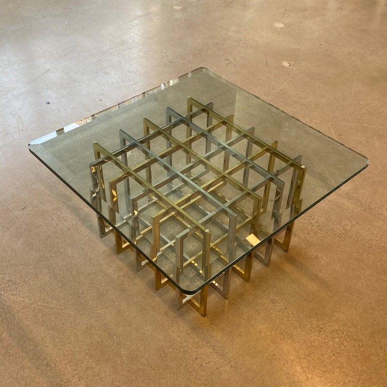 Brass and Chrome Coffee Cocktail Table Base by Pierre Cardin For Sale 3