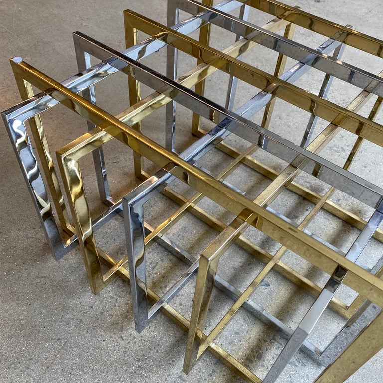 Brass and Chrome Coffee Cocktail Table Base by Pierre Cardin For Sale 4