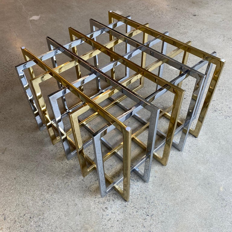 Brass and Chrome Coffee Cocktail Table Base by Pierre Cardin For Sale 5