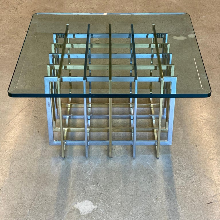 Brass and Chrome Coffee Cocktail Table Base by Pierre Cardin For Sale 1