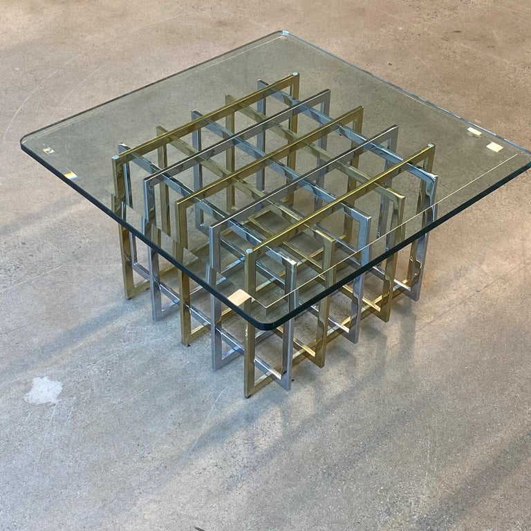 Brass and Chrome Coffee Cocktail Table Base by Pierre Cardin For Sale 2