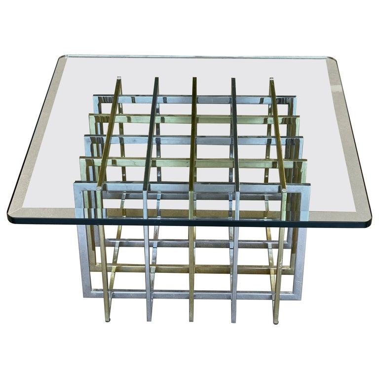 Brass and Chrome Coffee Cocktail Table Base by Pierre Cardin For Sale