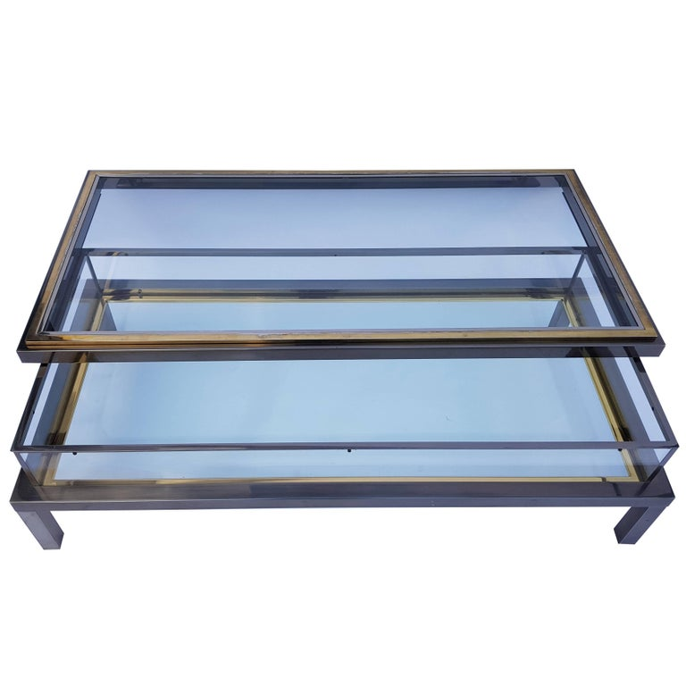 Brass and Chrome Coffee Table from Maison Jansen