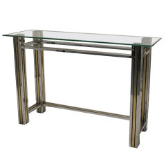 Brass and Chrome Column Leg Console