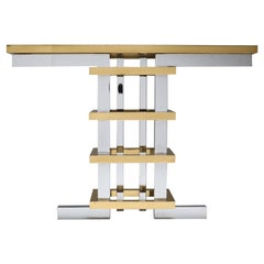 Brass and Chrome Console Table with Glass Top, Duchise