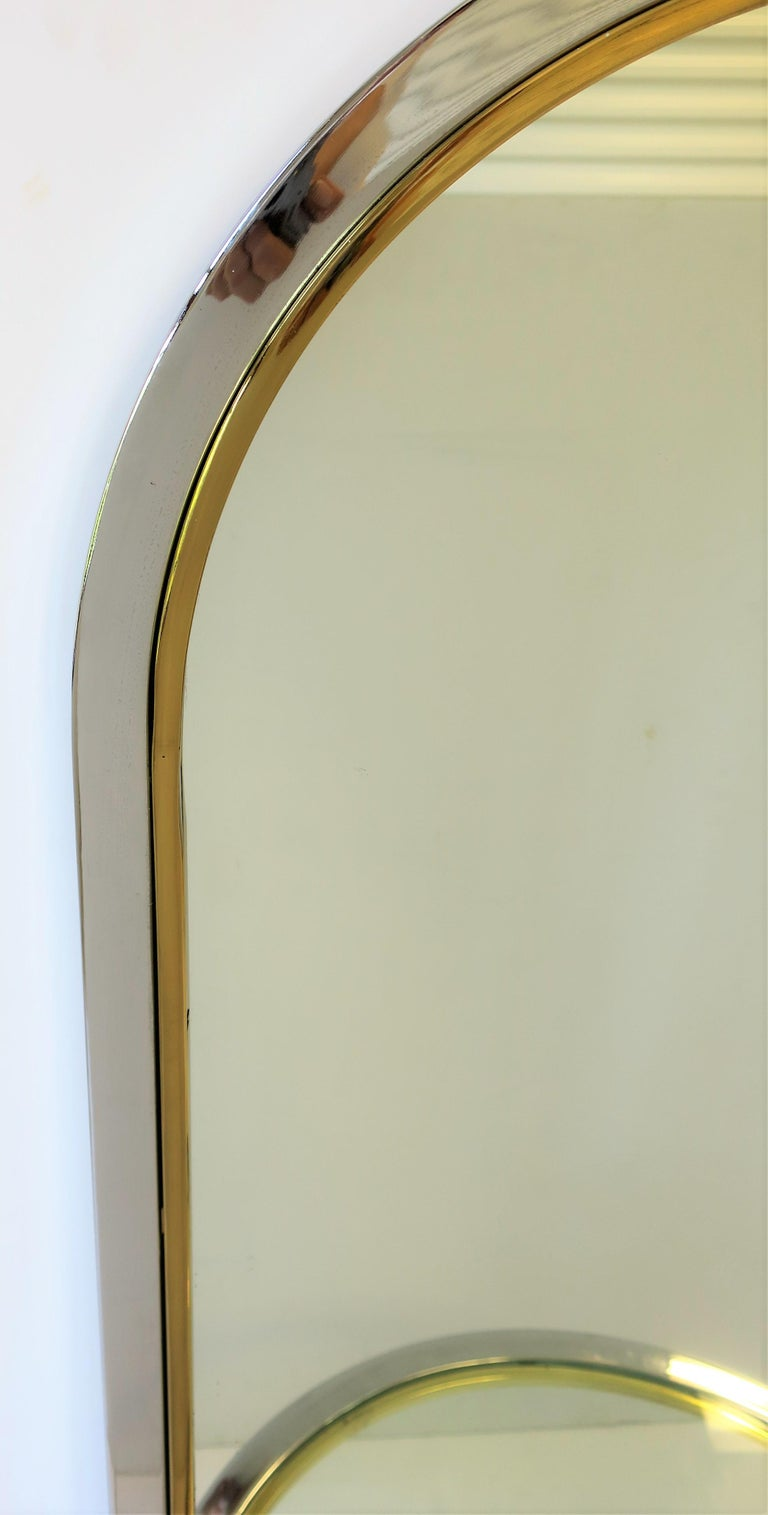 Modern Brass and Chrome Console Wall Mirror For Sale 4