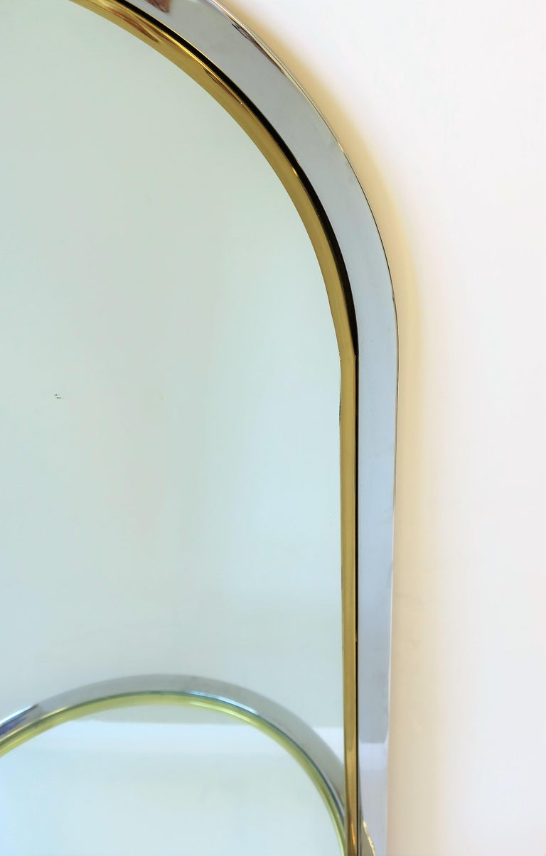 Modern Brass and Chrome Console Wall Mirror For Sale 6