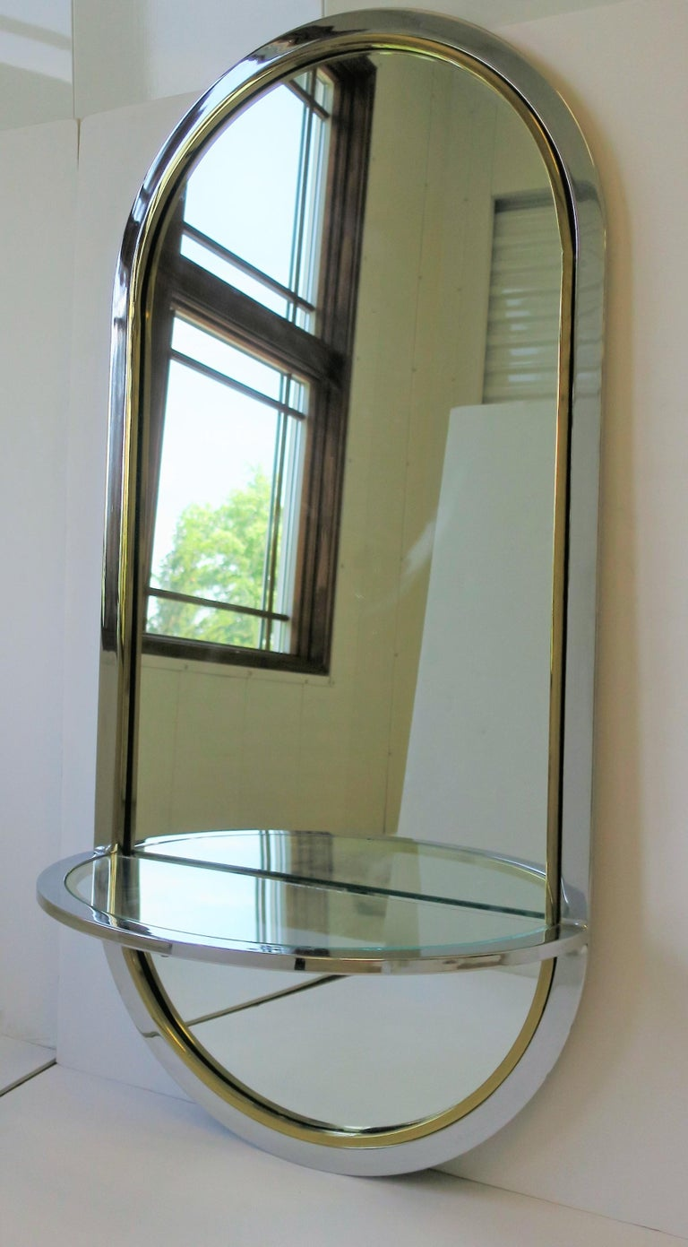 Modern Brass and Chrome Console Wall Mirror For Sale 7