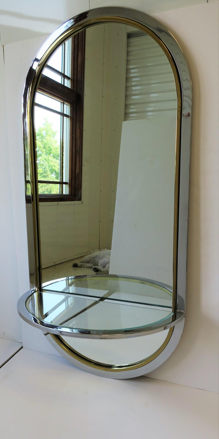 American Modern Brass and Chrome Console Wall Mirror For Sale