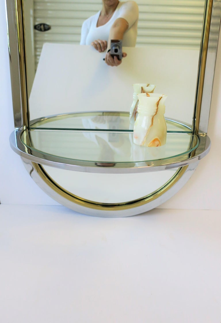 Modern Brass and Chrome Console Wall Mirror For Sale 1