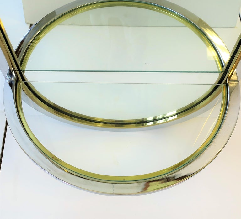 Modern Brass and Chrome Console Wall Mirror For Sale 2