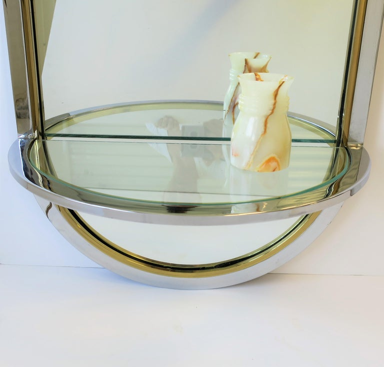 Modern Brass and Chrome Console Wall Mirror For Sale 3
