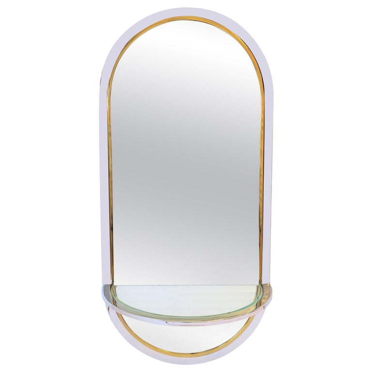 Modern Brass and Chrome Console Wall Mirror For Sale