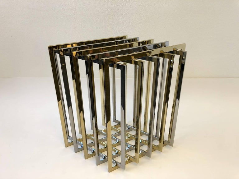 Brass and Chrome Dining Table Base by Pierre Cardin For Sale 4
