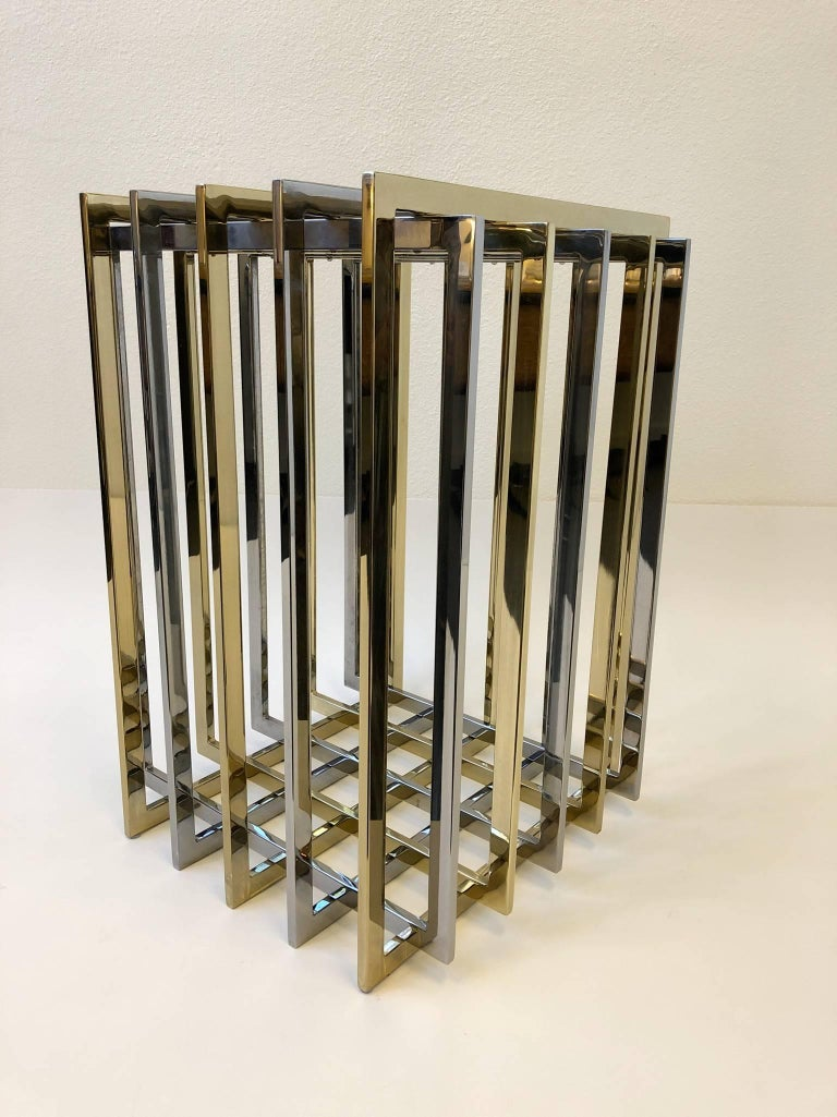French Brass and Chrome Dining Table Base by Pierre Cardin For Sale