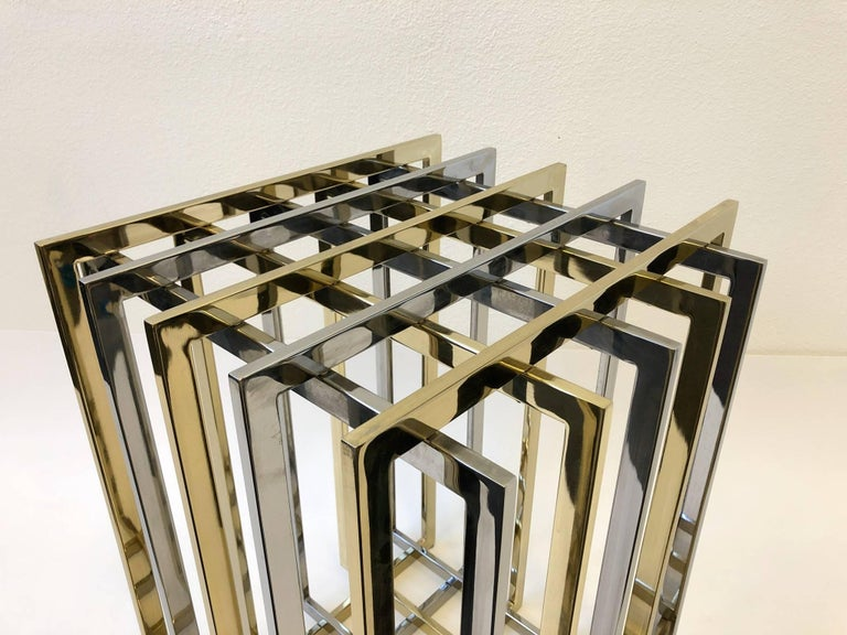 Brass and Chrome Dining Table Base by Pierre Cardin In Excellent Condition For Sale In Palm Springs, CA