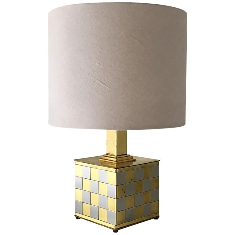 Brass and Chrome Patchwork Detailed Table Lamp, 1970s For Sale