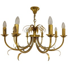 Brass and chrome pineapple chandelier, 1970s