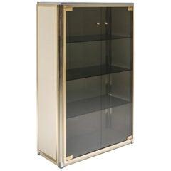 Brass and Chrome Renato Zevi Vitrine Showcase with Glass Doors, Italy, 1970s