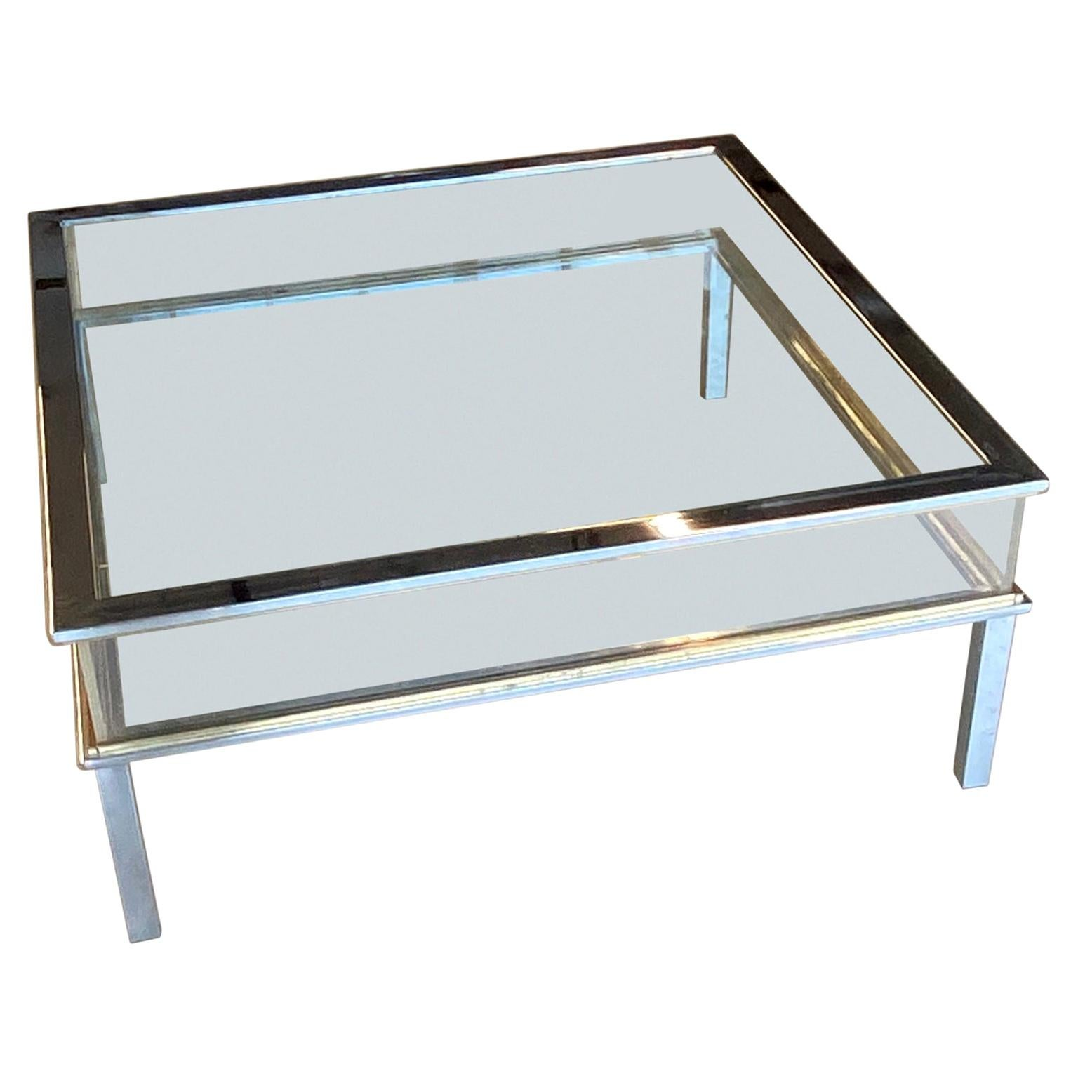 Brass and Chrome Sliding Top Coffee Table by Maison Jansen