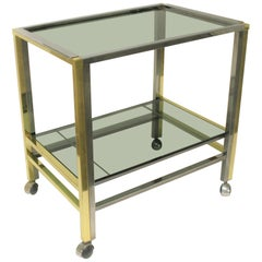 Brass and Chrome Two-Tier Bar Trolley, 1970s