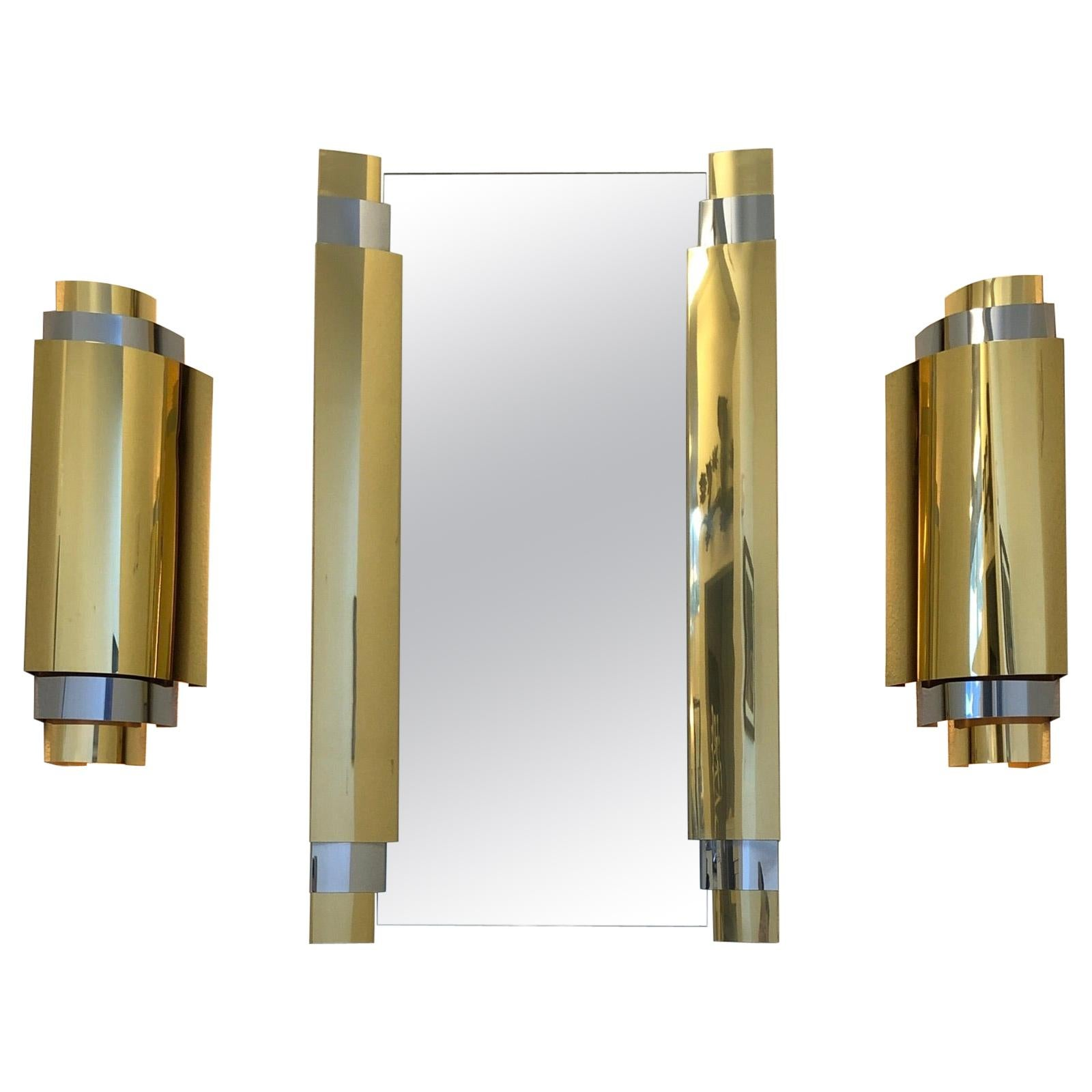 Brass and Chrome Wall Mirror and Scones by Curtis Jere