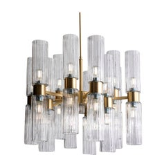 Brass and Clear Glass Chandelier