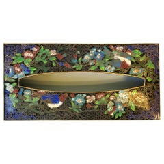 Brass and Cloisonné Enamel Tissue Box Cover with Birds and Flowers