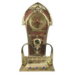 Brass and Copper Art Nouveau French Mantel Clock, circa 1900
