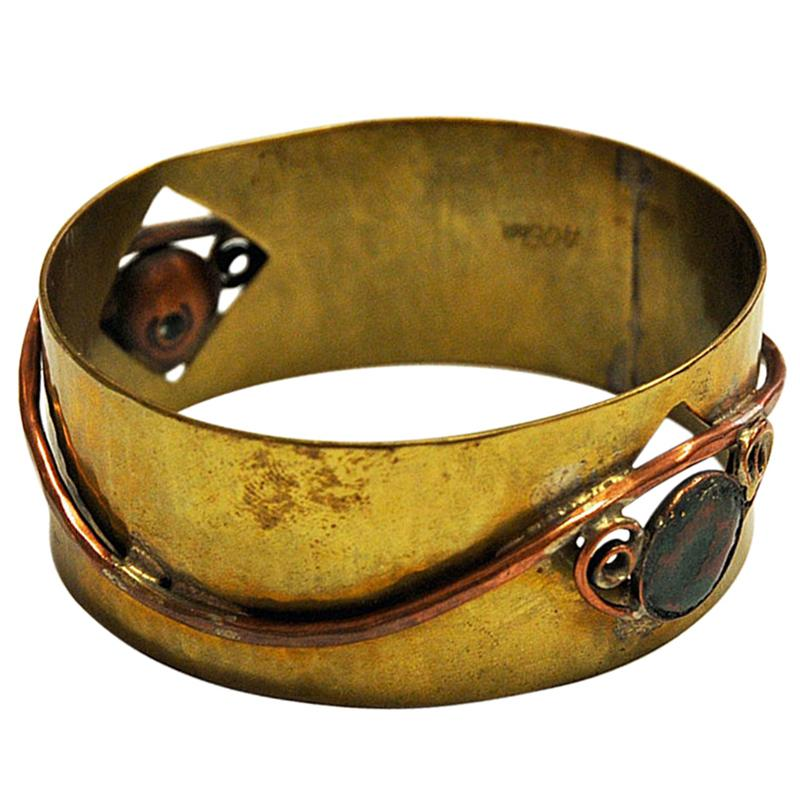 Brass and Copper midcentury Bracelet by Anna Greta Eker, Norway, 1960s