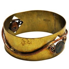 Brass and Copper midcentury Bracelet by Anna Greta Eker, Norway, 1960s