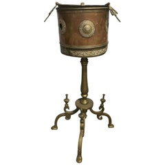 Brass and Copper Champagne Bucket with Tripod Metal Plant Stand