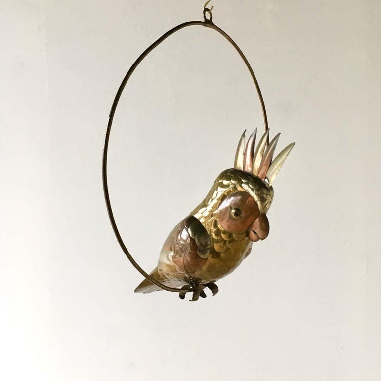 Central American Brass and Copper Cockatoo by Sergio Bustamante, 1960s For Sale